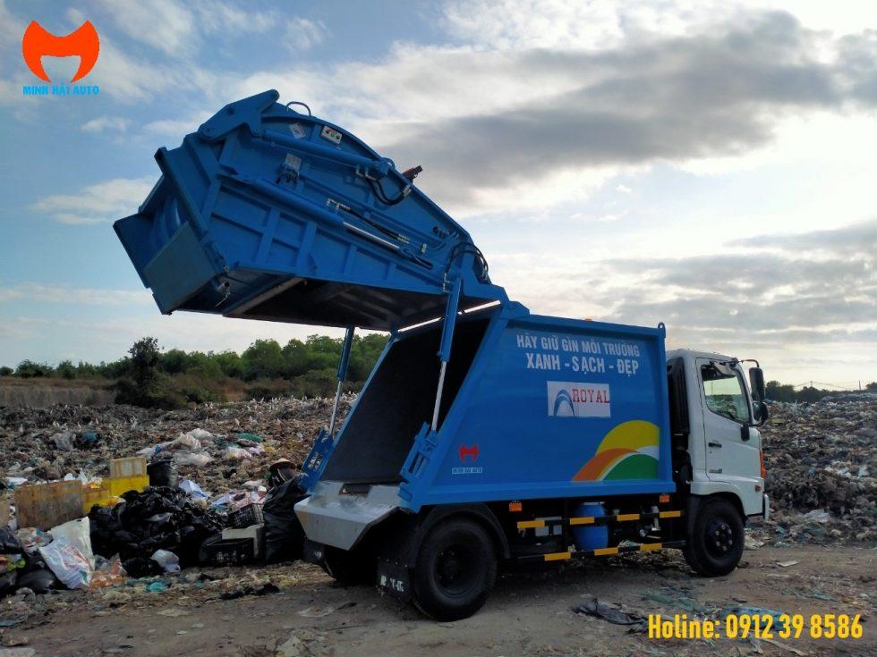 xe chở rác hino 9 khối